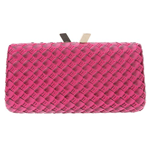 Fawziya Fawziya Kiss Lock Weave Evening Bag For Women Clutch Bbag Purse-Rose