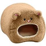 MILICOCO ペット用品 小動物用品 ハムスターベッド ハウス クッションベッド 固定可能 暖かい 可愛い クマ型 洗濯可能 四季用 ハムスター ケージ 保温