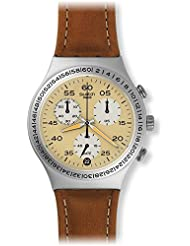 Swatch Men's Brushed Earth YCS4053 Leather Synthetic Wrist Watches