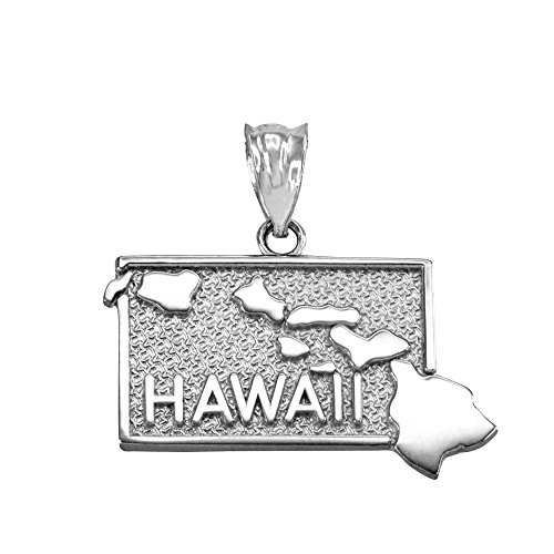 Hawaii HI Islands State Map Charm Pendant in 925 Sterling Silver ()