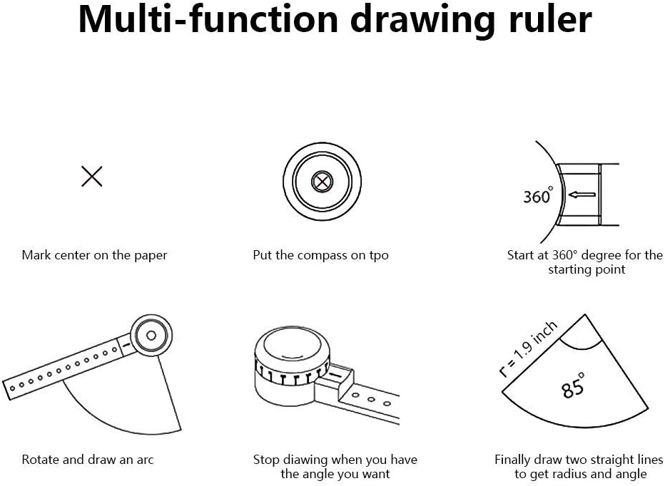 Multi-function Drawing Tool,All in One Versatile Magcon Tool EDC Stationery Multi-Function Drawing Architect Scale Ruler for Notepad Designers Artists Architects Black