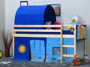 Etagenbett Mit Lattenrost : Hochbett flexi blau bett 90x200 kinderbett kiefer massiv