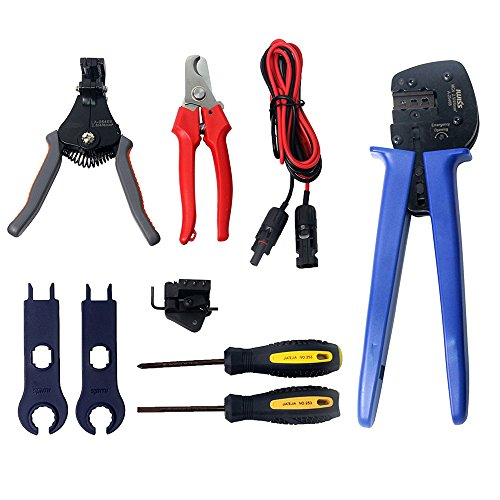 Signstek 11 In 1 MC4 PV Solar Cable Multifunctional Stripper Crimper Tool Kit for 2.5-6mm2 Connector Cable Solar Panel with 3 Crimper Tools