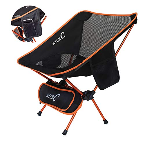 NiceC Ultralight Portable Folding Chairs with Two Storage bags and Carry Bag Compact & Heavy Duty for Outdoor, Camping, BBQ,Backpacking, Beach Sunbath, Travel, Picnic, Festival (orange)