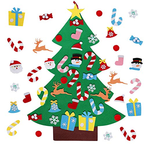 MUXIN Felt Christmas Tree with 26 Pcs Detachable Ornaments, 3.2ft DIY Toddler Christmas Tree Wall Decor with Hanging Rope for Kids Xmas Gifts Home Door Decoration ... (Decorations And Christmas Gifts)
