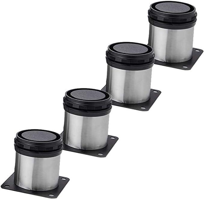 4 unidades Patas de Metal muebles regulables armario de cocina pies redondo - Metal cromado - Altura ajustable (Total: 50mm)