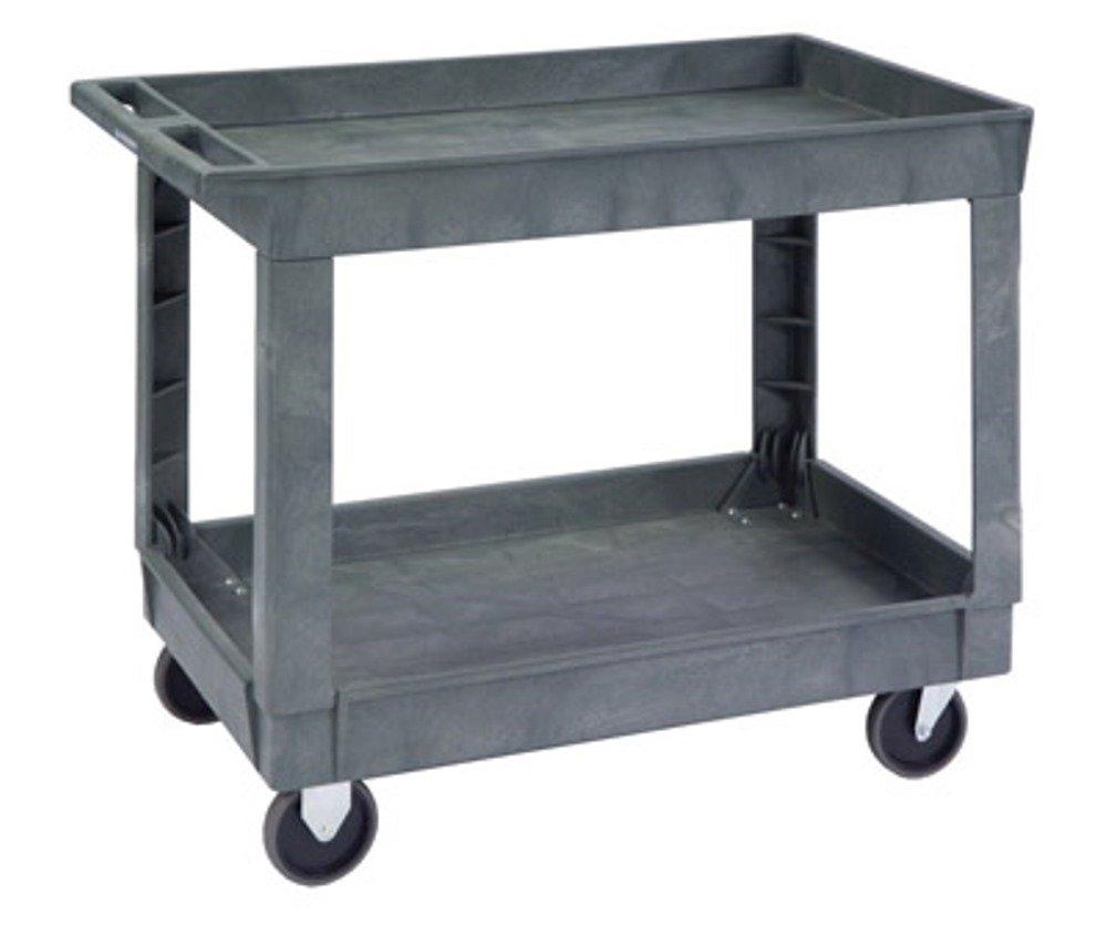 "Lakeside 2523 Deep Well Plastic Utility Cart; 500 Lb Capacity, 2 Shelf, 24""X36"" - Charcoal"