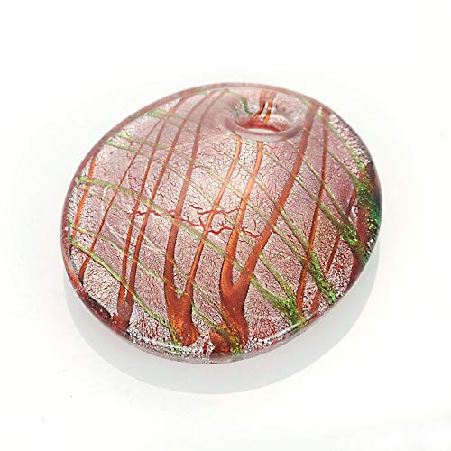 - Handmade Glass Pendant Handmade Millefiori Murano Lampwork Glass Art Glaze Cool Round Pendant Fit Necklace for Women Girl Gift