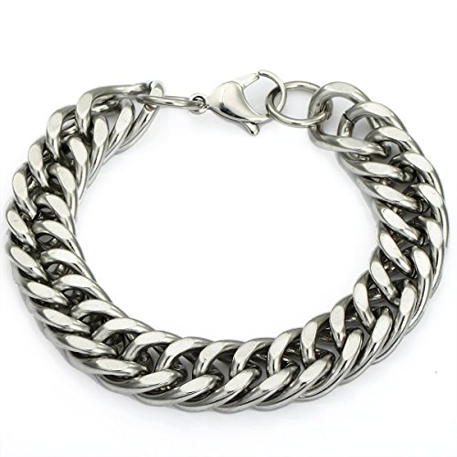 Double Curb Chain (Trendsmax 13mm Mens Chain Double Curb Cuban Rombo Silver Tone Stainless Steel Bracelet)