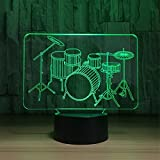Cable Drum Coffee Table Novel Smart Touch Drums 3D Touch Optical ILLusion Night Light Stunning Visual Effect 7 Colors Changing Table Desk Deco Lamp Bedroom Children Room Decorative Nightlight Lighting Effects Birthday Holid