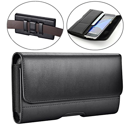 iPhone 7 Belt Clip Case,Premium Leather Holster Pouch Loops Carrying Case with ID Card Holder for Apple iPhone 8, iPhone 7, 6s, 6 (Fits with a Hard Case or Bumper Cover On) ()