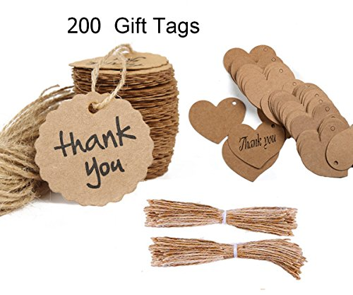 Oruuum 200PCS Kraft Paper Gift Tags Bonbonniere Favor Thank You Gift Tags with Free 200 Feet Natural Jute Twine Brown (Heart Shape Paper Tag And Scalloped Shape Paper Tag )
