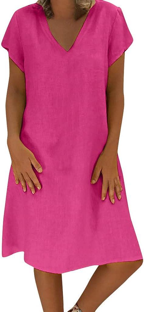 Handyulong Womens Dresss Color Block Casual Loose Tunic T-Shirt Dress Mini Dress Holiday Beach Sundress Shift Dress