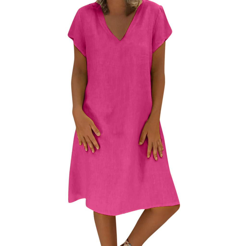 Plus Size Women Dress Short Sleeve Summer Solid Color Loose Casual T Shirt with Pockets (XXXXL, Hot Pink)