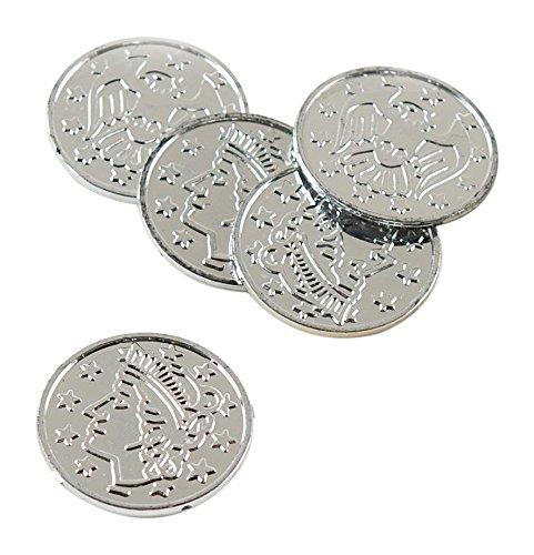 Plastic Coins (silver)    (100/Pkg)