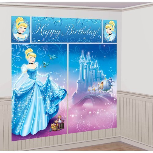 (Cinderella Scene Setter Wall Decorating Kit Princess Disney Birthday Party by Amscan [Toy])