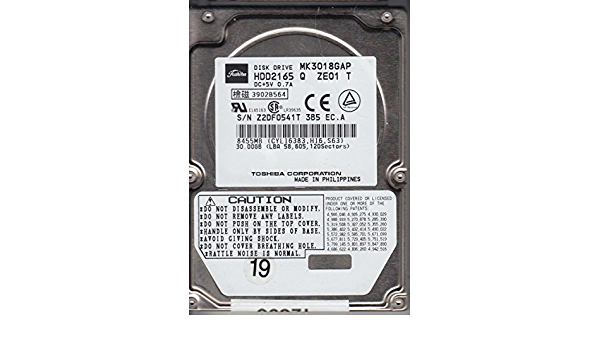 MK3018GAP, HDD2165 Q ZE01 T, Toshiba 30GB IDE 2.5 Disco Duro: Amazon.es: Electrónica