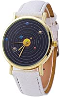 Vavna Solar System Montage Unisex Leather Quartz Watch - White