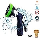 Rbaysale Garden Hose Spray Nozzle,Hand Sprayer Metal Water Nozzle High Pressure Water Hose Gun 9 Adjustable Watering Patterns for Showering Dogs, Pets, Car Wash, Cleaning, and Watering Plants