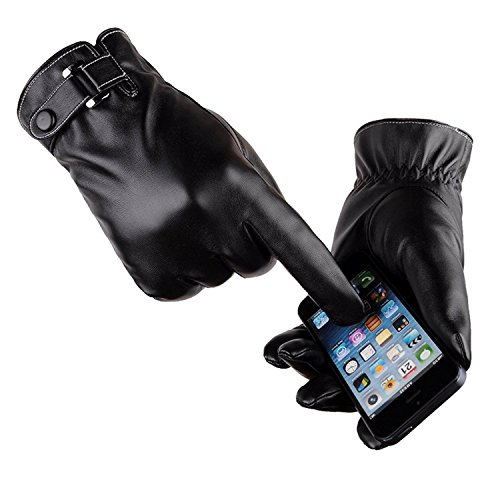 LAOWWO Mens PU Leather Gloves Touchscreen Gloves Driving Gloves Black...