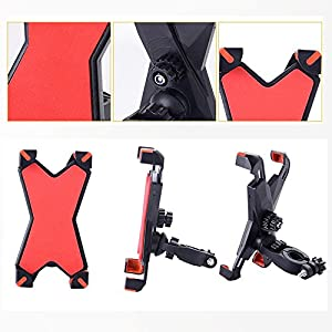 Bike Phone Mount Bicycle Holder and Motorcycle Holder, Fits for GPS Devices, iPhone 6s / 6s Plus, iPhone 7 / 7 Plus, Samsung Galaxy S7,360 Degrees Rotatable,Adjustable Sizes.(Red)