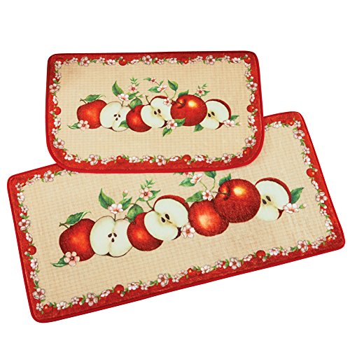 Collections Etc Apple Orchard Cushion Rugs with Red Decorative Border and Skid-Resistant Backing - Set of 2 (Area Rug Apple)