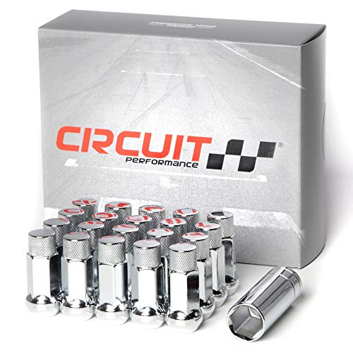 Circuit Performance Forged Steel Extended Hex Lug Nut for Aftermarket Wheels: 12x1.5 Chrome - 20 Piece Set + - Wheel Chrome Forged