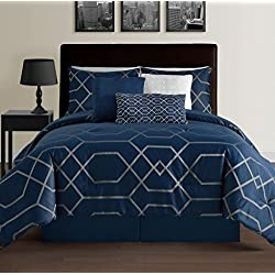 Hampton 7-Piece Modern Geometric Down Alternative Comforter Set, California King, Blue