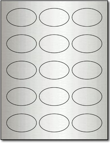 1 7/16 X 2 3/8 Oval Silver Foil Labels for Laser Printers - 10 Sheets / 150 Labels