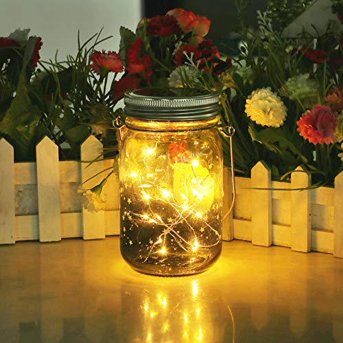 Star Solar Garden Lights – Mason Jar Lights – Led Water Proof Outdoor Fairy Lights,Hanging Lantern for Garden, Courtyard…