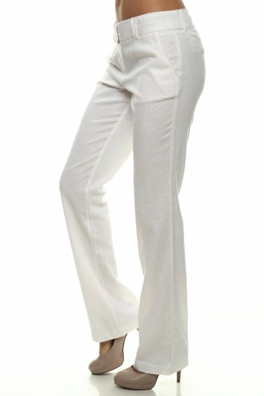Rokoko Women's Linen Blend Semi Sheer Straight Office Trouser Pants