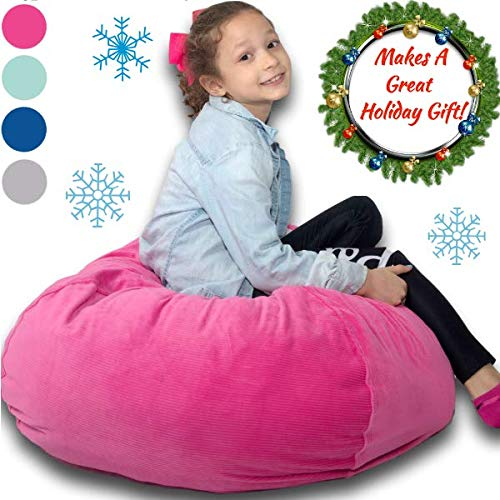 "Large Stuffed Animal Storage Bean Bag ❤️ ""Soft 'n Snuggly"" Corduroy Fabric Kids Prefer Over Canvas - Replace Mesh Toy Hammock or Net - Store Blankets/Pillows Too - 4 -"