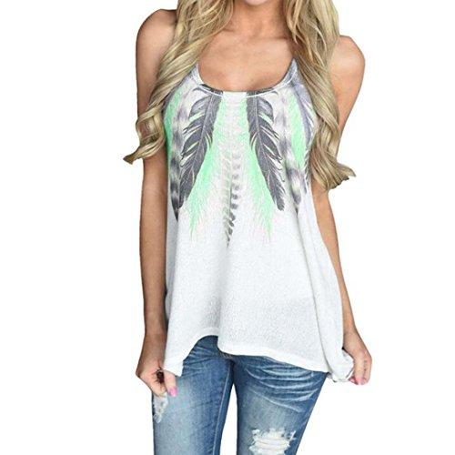 Rakkiss Women Lace Vest Women Plus Size Sleeveless T-Shirt Casual O-Neck Tank Feather Print Tops Vest (XL, Green)
