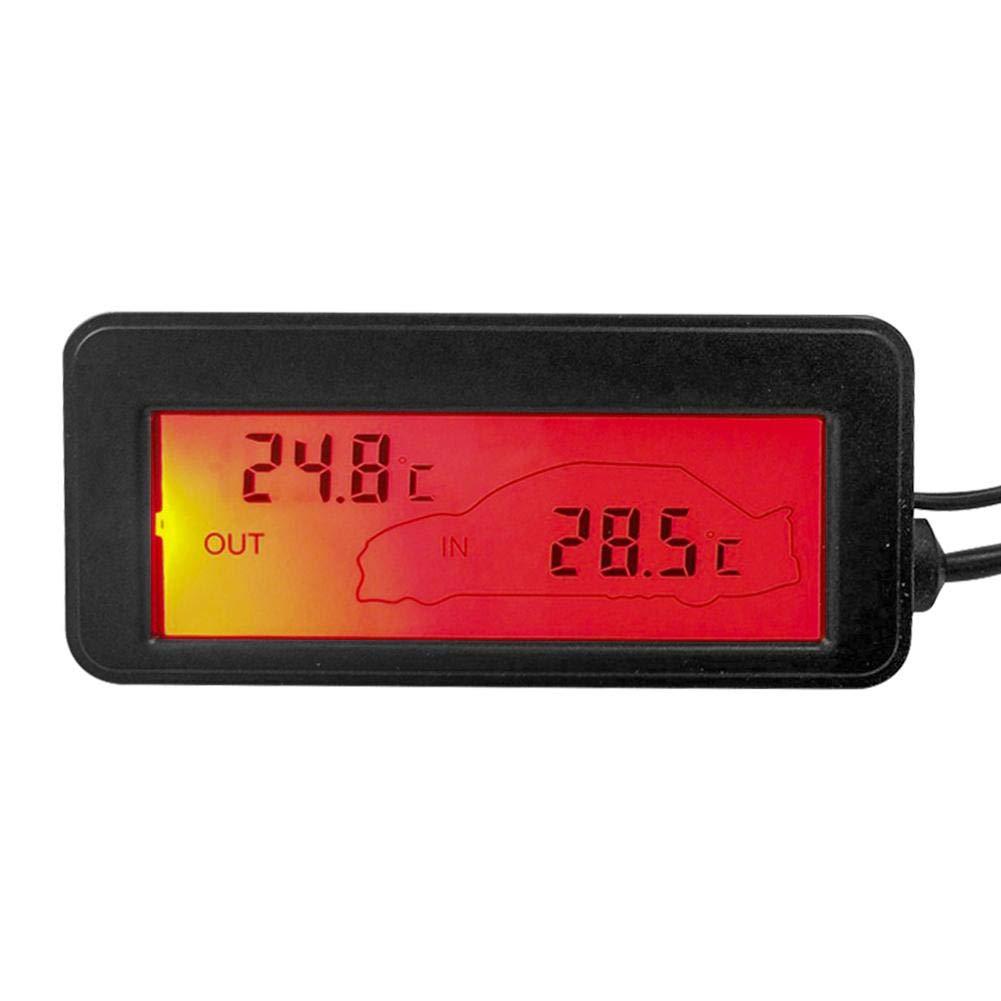 blu akaddy DC12V Termometro per auto digitale Mini LCD Retroilluminazione Temperatura Meter