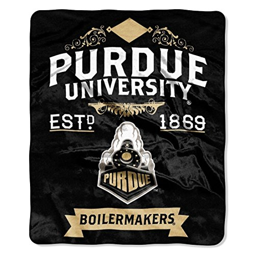 The Northwest Company Purdue Boilermakers 50x60 inch NCAA Label Design Royal Plush Raschel Throw Blanket