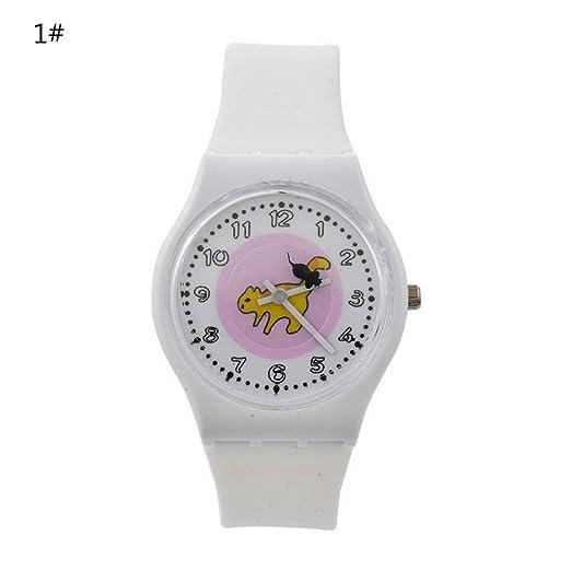 Homim - Reloj de cuarzo para niños, diseño de dibujos animados y gatos, correa de gel de sílice, casual, deportivo, color blanco: Amazon.es: Relojes
