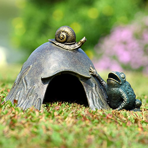 SPI Home Aluminum Toad House with Snail and Toad Figurine