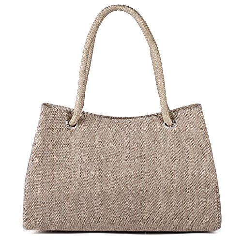 Tibes Canvas Beach Handbag Large Travel Tote Bag Khaki