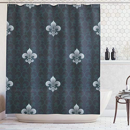 - Ambesonne Fleur De Lis Decor Collection, Antique Pattern Royalty History and Royal Arms of France Symbolic Stylized Art, Polyester Fabric Bathroom Shower Curtain Set, 75 Inches Long, Navy Blue