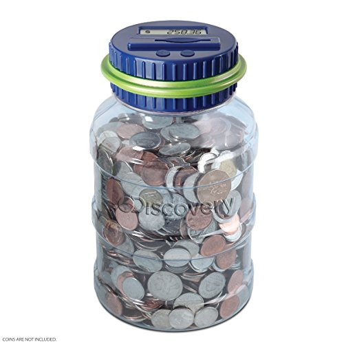 DISCOVERY KIDS Digital Coin-Counting Money Jar with LCD Screen, Keeps Track of Balance, Twist Off Lid, US Currency, Battery Operated ()