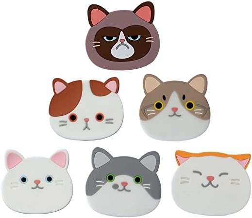 Compra 6 pieza gato Posavasos, nette Gatos rígida alfombrillas silicona goma Posavasos para Vino, cristal, Té en Amazon.es