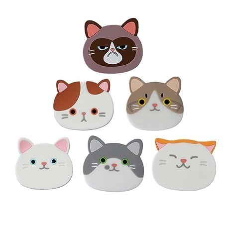 6 pieza gato Posavasos, nette Gatos rígida alfombrillas silicona goma Posavasos para Vino, cristal