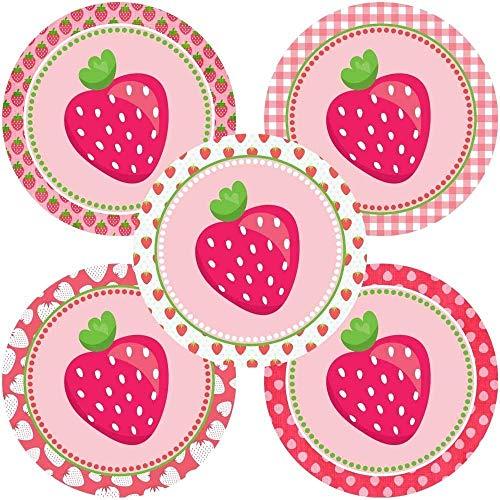 Pink Strawberry Sticker Labels - Girl Children Fruit Birthday Baby Shower Party Supplies - Set of 50 -