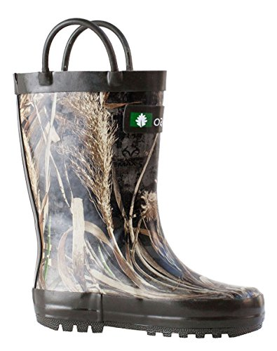Oakiwear Kids Waterproof Rubber Rain Boots with Easy-On Handles Max-5 Camo uyOm8ejU9p