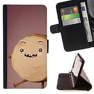 - cookie cake monster drawing brown - - Prima caja de la PU billetera de cuero con ranuras para tarjetas, efectivo desmontable correa para l Funny HouseFOR Apple Iphone 4 / 4S