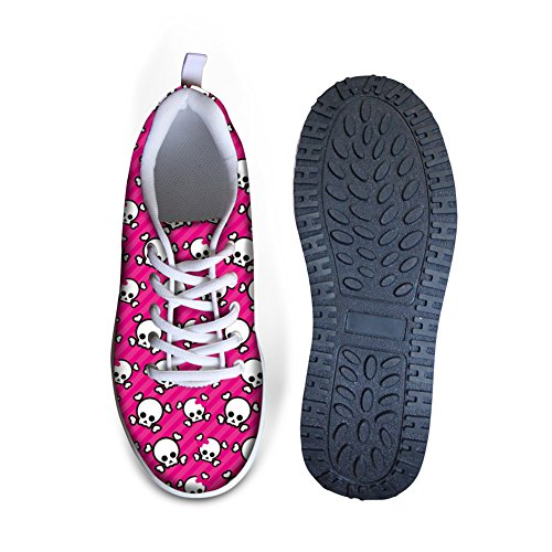 Bigcardesigns Womens Walking Shoes Fashion Skull Sneaker Pink cHWOK