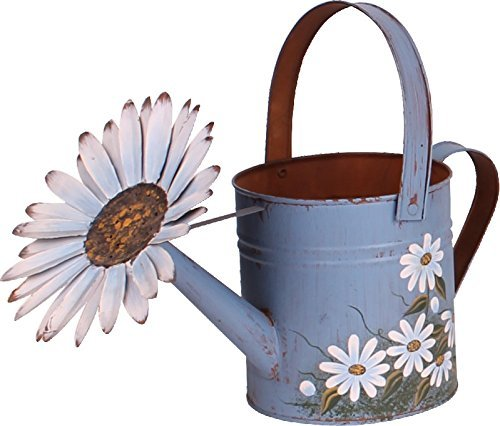 Metal Garden Planter Pot Indoor Outdoor Vintage Hand Painted Decorative Watering Can Planter Flower Pot ()