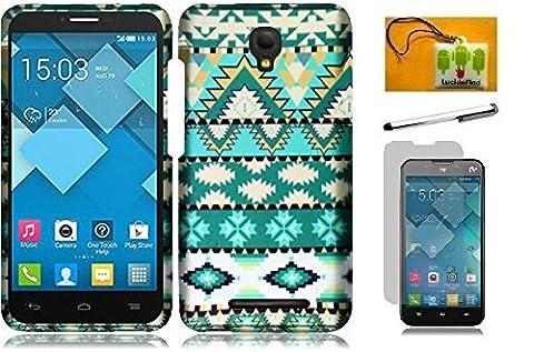 Alcatel One Touch Pop Mega LTE A995G / A995L, LF 4 in 1 Bundle, Designer Hard Cover Case, Stylus Pen, Screen Protector & Wiper For Alcatel One Touch Pop Mega LTE A995G / A995L (Designer Mint Green (Alcatel A995g Lte Phone Cover)