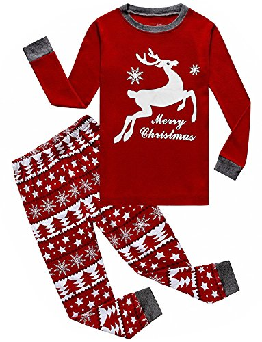 IF Pajamas Christmas Flying Reindeer Little Boys Girls PJS Long Sleeve Kid Sets