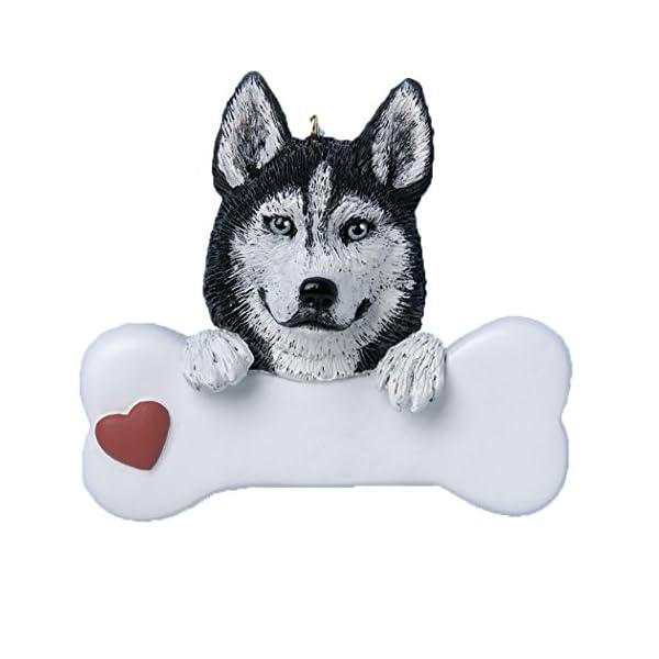 Personalized Siberian Husky Christmas Tree Ornament 2019 - Dog Paw Bone Heart Loyal Puppy Gentle Piebald Best Furever Intelligent Fluffy White Black Silver Grey - Free Customization 1